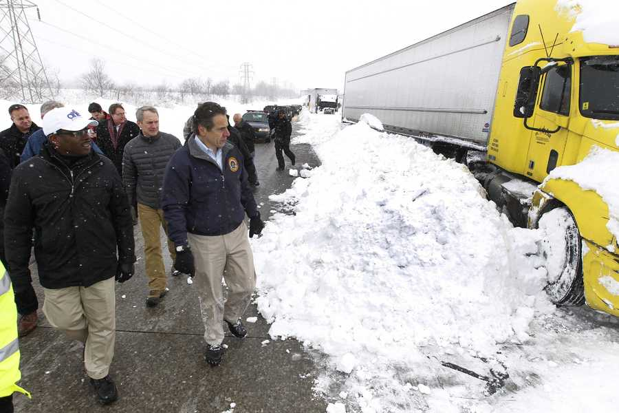 New York Governor Andrew Cuomo tours the damage caused by a ferocious lake-effect storm.