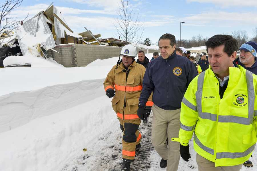 New York Governor Andrew Cuomo briefs media on Western New York Winter Storm and tours storm damage in Cheektowaga and National Guard Troops response in South Buffalo.