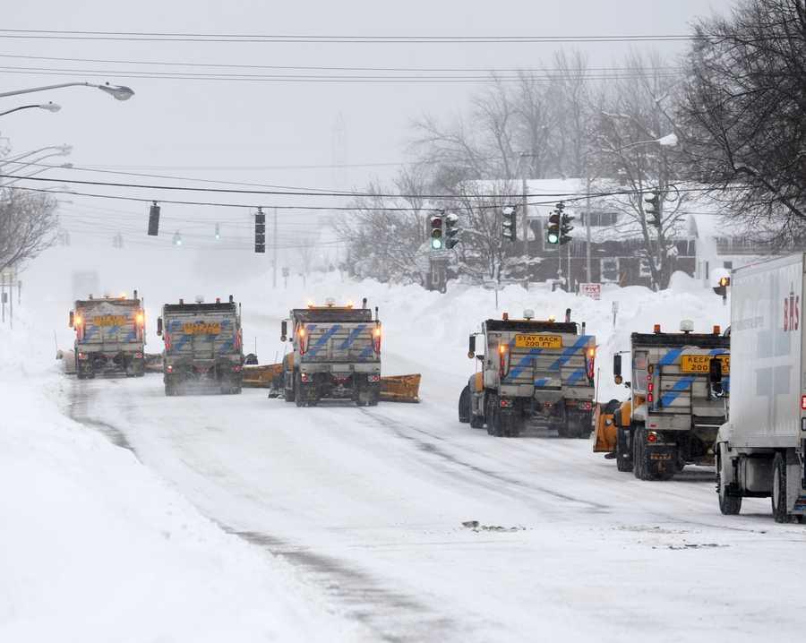 State snowplows clear Union Road on Thursday, Nov. 20, 2014, in West Seneca, N.Y.