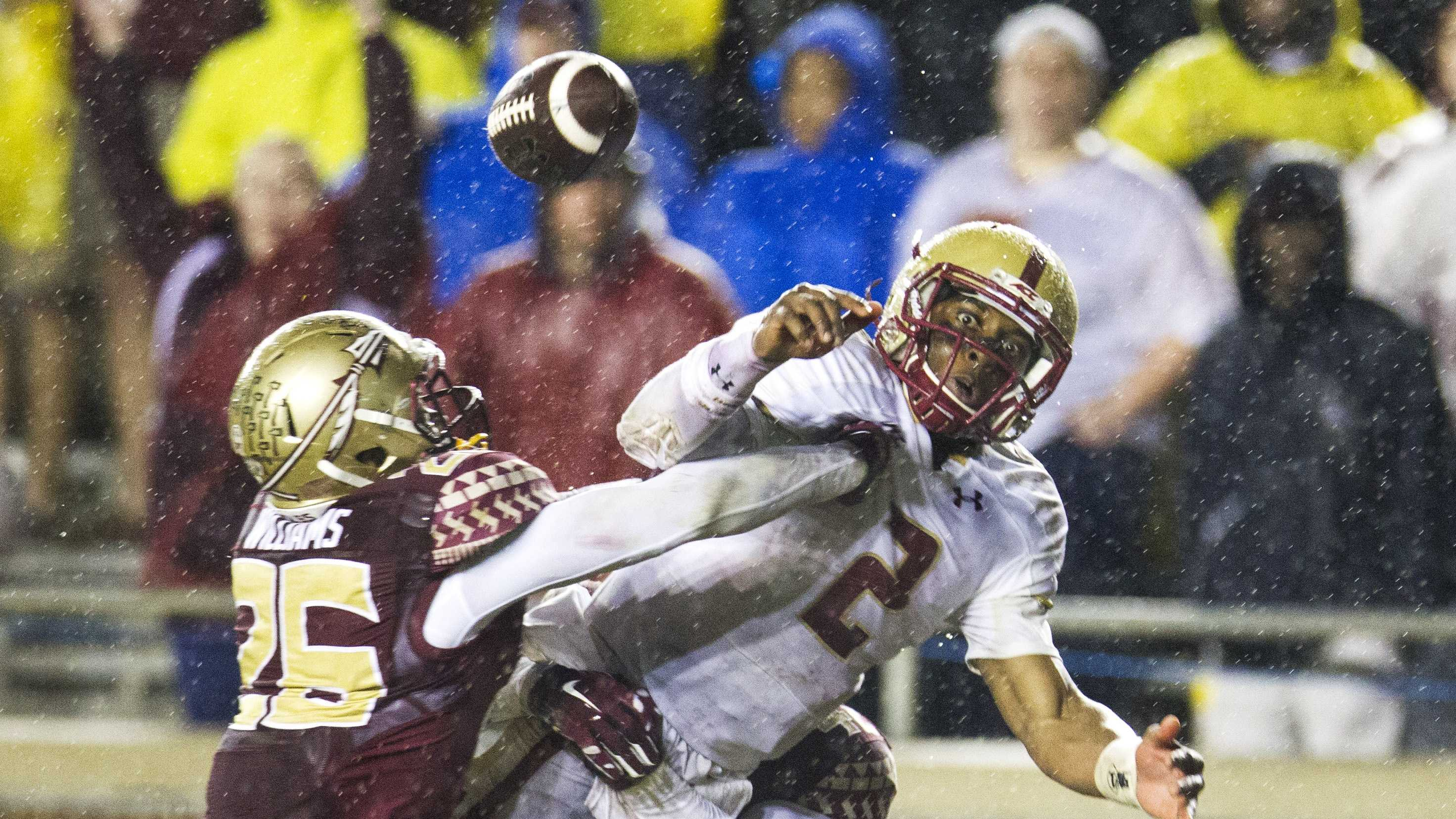 Florida State defenders P.J. Williams, left, and Lamarcus Brutus break up a pass intended for Boston College quarterback Tyler Murphy, right, in the end zone in the second half of an NCAA college football game in Tallahassee, Fla., Saturday, Nov. 22, 2014. Florida State won 20-17.