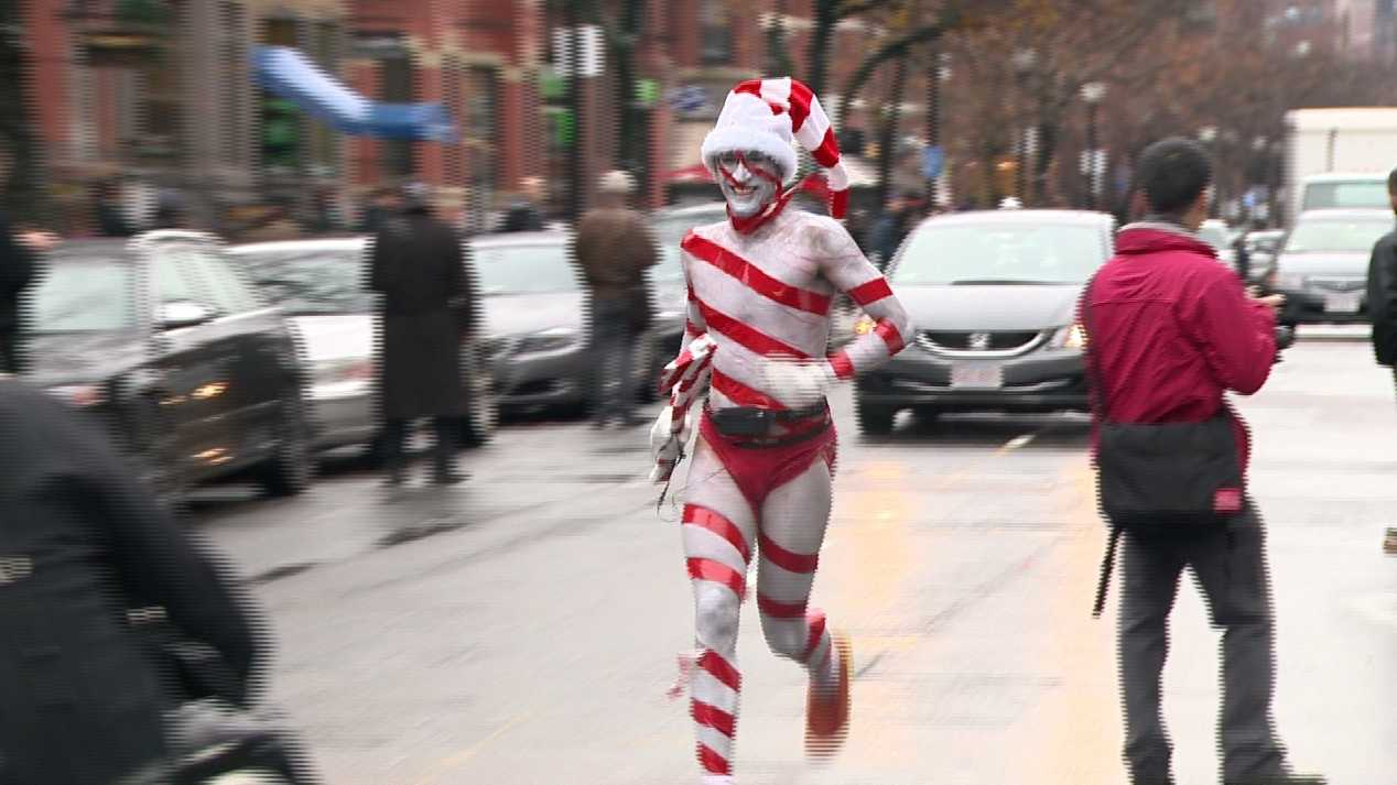 Hundreds of people stripped down to hardly anything on Saturday for the  annual Santa Speedo Run in Boston.