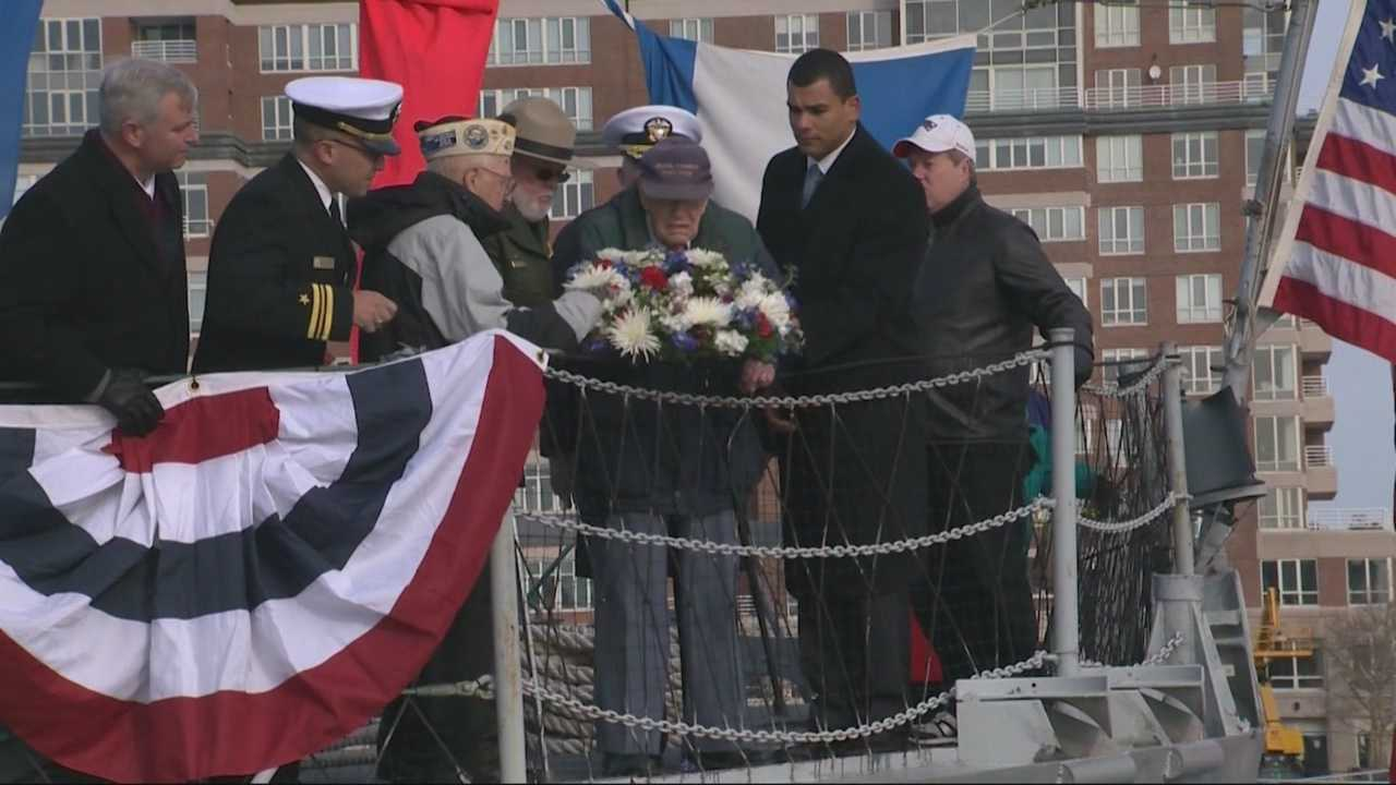 The 73rd anniversary of the Japanese bombing of Pearl Harbor has been honored in Boston on a historic ship named for a Naval officer awarded the Medal of Honor for his actions that day.