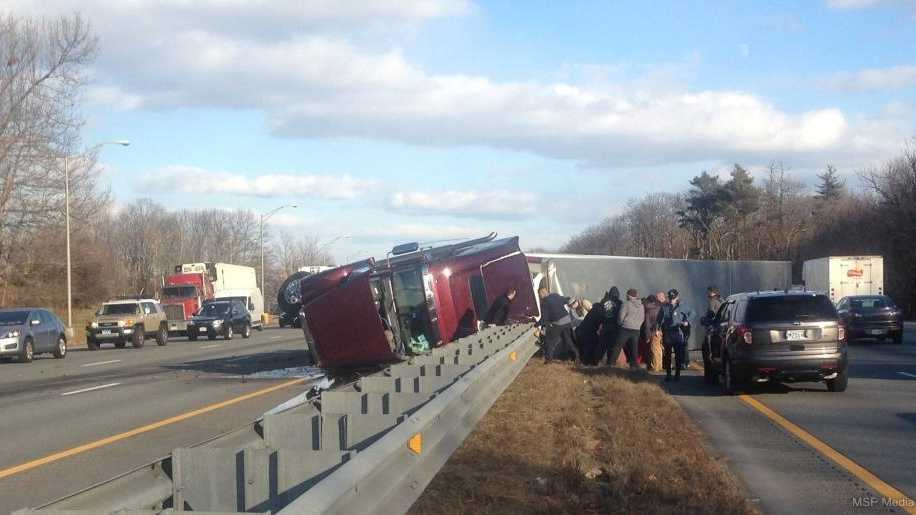 A tractor-trailer crash created a traffic mess for drivers in central Massachusetts on New Year's Eve.