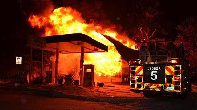 A fire destroyed Jake's Market in George's Mills Village of Sunappe early Sunday morning.