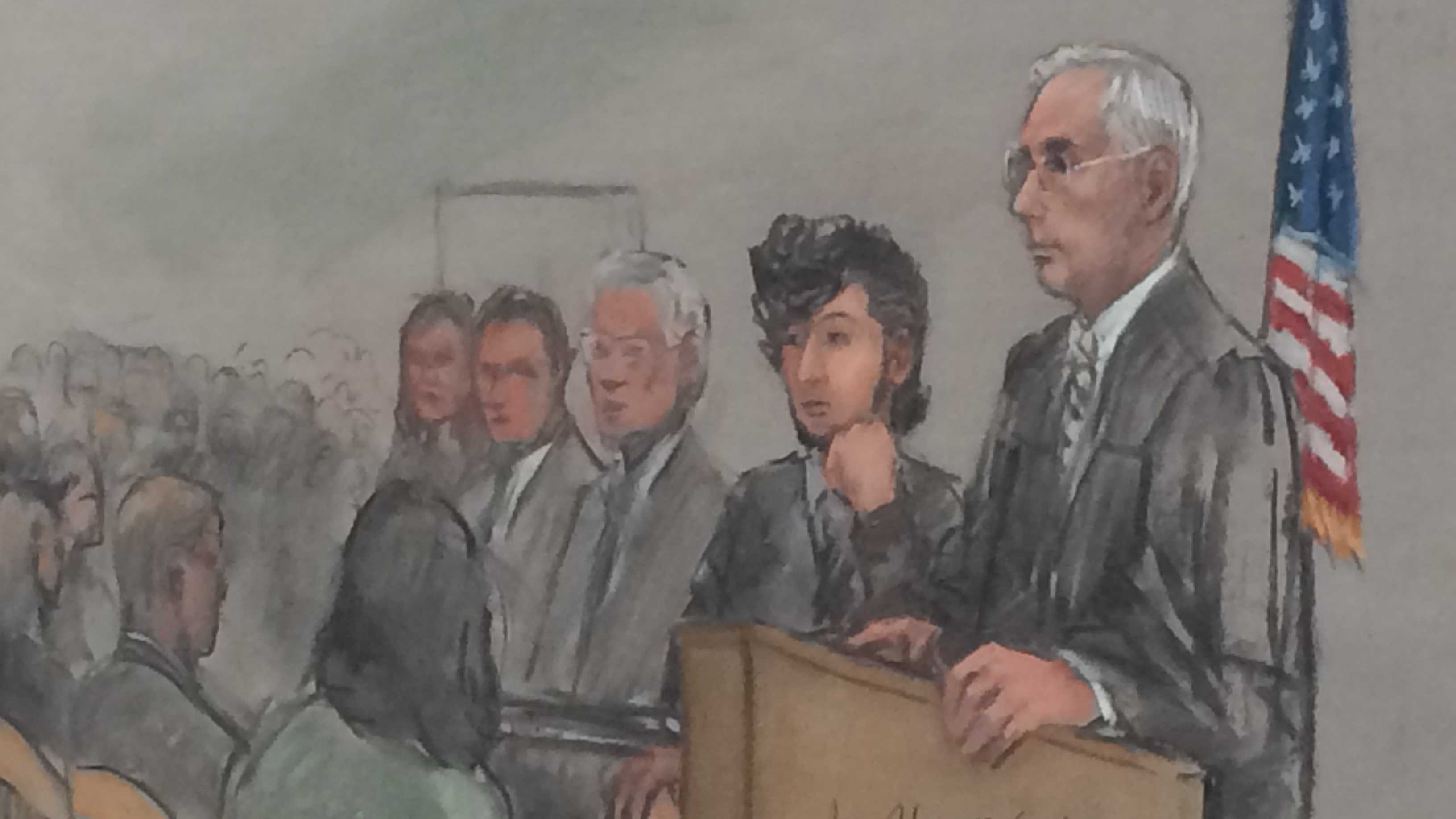 Day 1: Jan 5, 2015: Potential jurors appear in court as jury selection begins under tight security for Boston Marathon Bombing suspect Dzhokhar Tsarnaev. He is accused of planning and carrying out the twin bombings that killed three people and wounded more than 260 others near the finish line of the race on April 15, 2013.