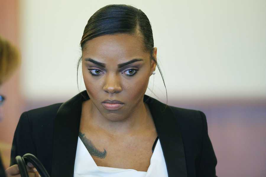Shayanna Jenkins, fiancee of former New England Patriots football player Aaron Hernandez. She faces perjury charges for lying to a grand jury hearing the case against Hernandez.