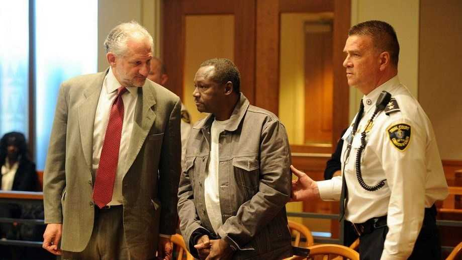 Elbert Richardson hearing in Brockton District Court on Thursday, Jan. 8. 2015 with chief court officer Charles LeClerc, right, and attorney Josh Werner, left.