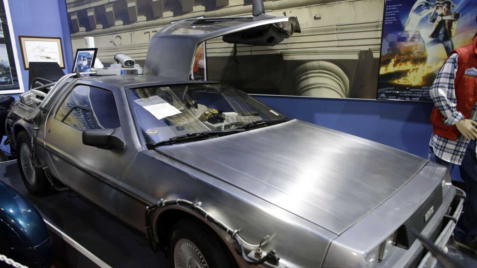 "This Tuesday, Dec. 24, 2013 photo shows the 1982 Delorean ""Time Machine"" from the movie ""Back to the Future"" displayed at the Dezer Collection Museum in North Miami, Fla. More than 1,000 cars are on display at the 250,000-square-foot museum which features American Classics, military and electric cars, bicycles, and cars featured in movies."