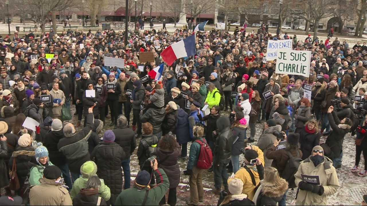 Gathering coincided with anti-terrorism rally in France