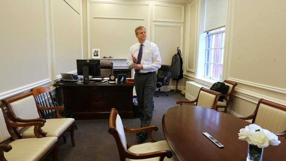 Governor Charlie Baker settled in for his second day of work at the State House on Monday, in the austere office of former Governor Deval Patrick's chief of staff.