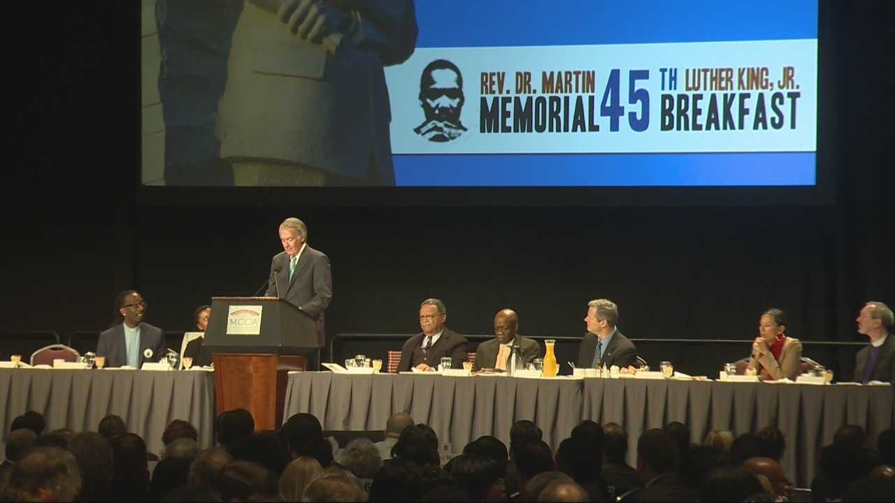 Top political leaders in Massachusetts gathered in Boston for the annual Martin Luther King Jr. Memorial Breakfast honoring the legacy of the slain civil rights leader.