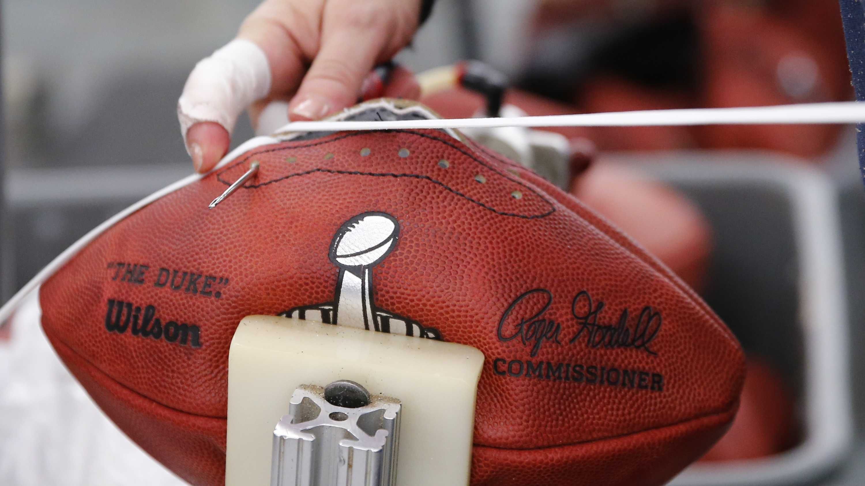 BALL CONTROL: Footballs are sent directly to teams. Equipment managers can brush them and even use a damp towel to rub off the oil used to preserve the leather to the preferences of each quarterback. The quarterbacks can even practice with the footballs during a game week as long as the footballs remain in good enough condition to pass the referee's inspection as a new ball. Each team brings at least 12 balls each, so Tom Brady threw footballs provided by the Patriots while Andrew Luck handled footballs brought by the Colts.