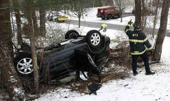 "A single car accident on Stonybrook Road in Marshfield which trapped the driver, Marshfield fire used the ""Jaws of Life"" to free the female driver. Monday Jan. 26 , 2015."
