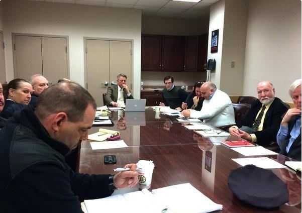 Fall River Mayor Sam Sutter meets Monday with department heads in preparation for the winter storm.