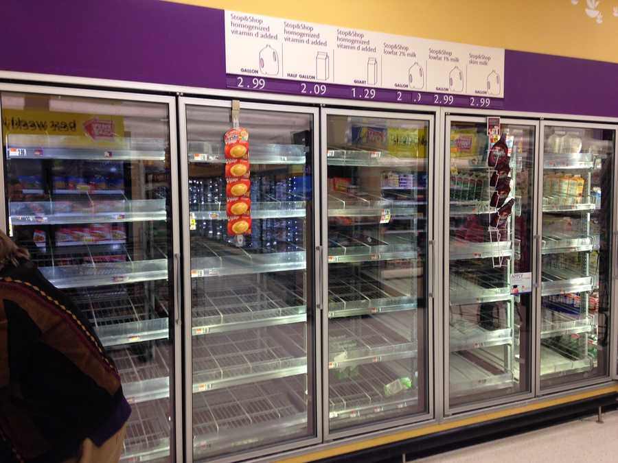 Empty shelves at the Stop and Shop in Beverly
