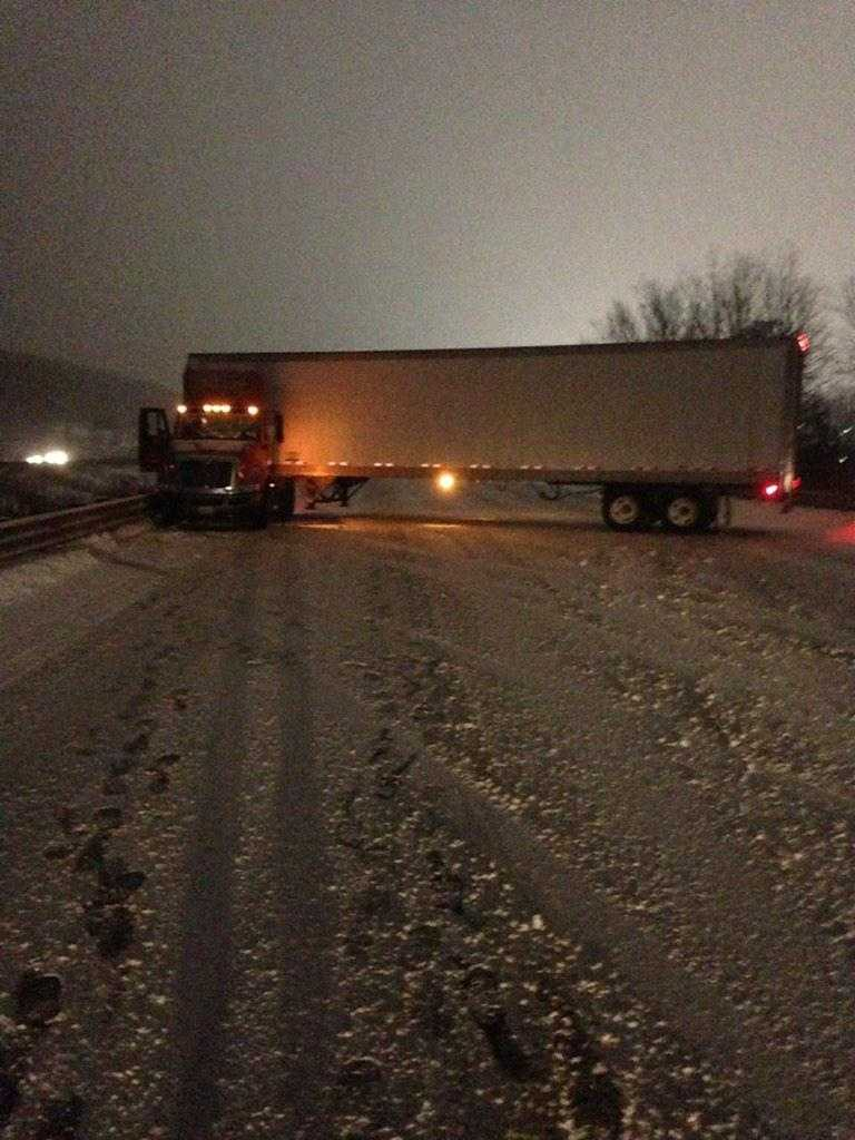 A tractor-trailer jack knifed on Route 495 Monday night in Milford.
