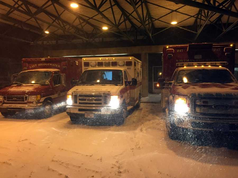 Ambulances at Signature Brockton Hospital on Monday, January 26, 2015.