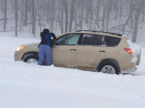 A driver pulled over to clean their windshield Tuesday morning.