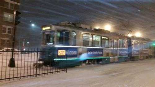 Green Line trolleys ran all night Monday to try to keep the tracks clear.