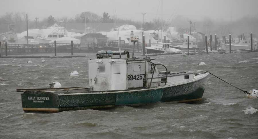 Rough conditions were reported on the water during the blizzard on Tuesday, January 27, 2015.