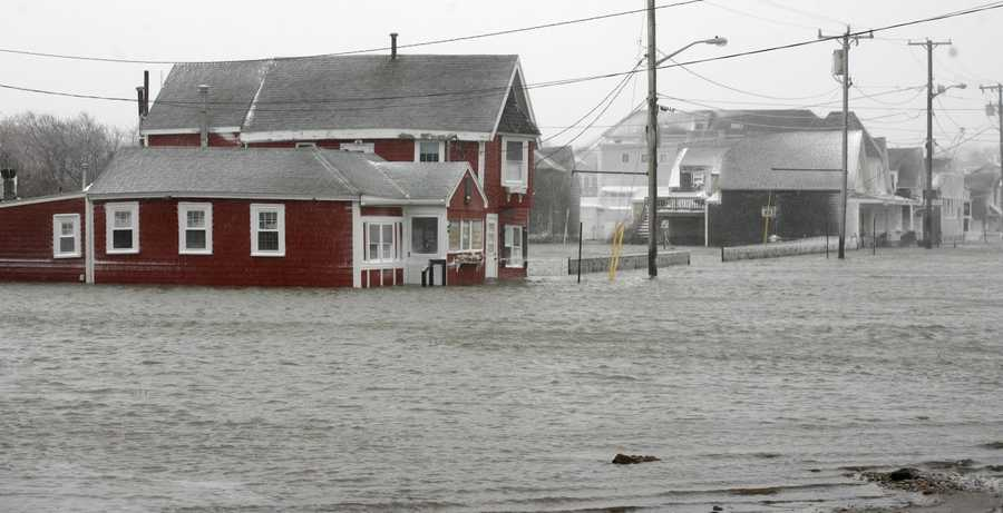 Flooding in Marshfield during the blizzard on Tuesday, January 27, 2015.
