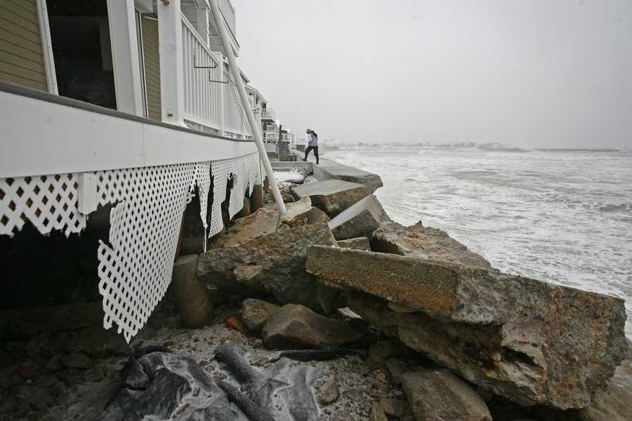 A seawall collapsed in Marshfield during the blizzard on Tuesday, January 27, 2015.