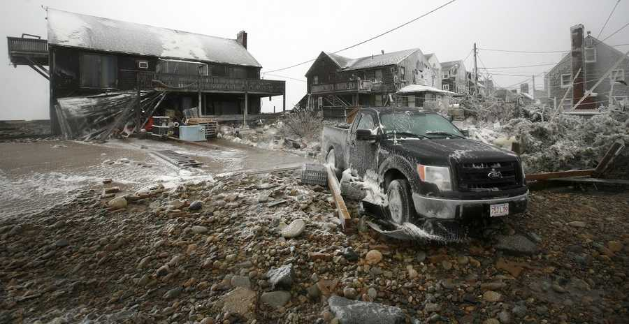 The effects of blowing snow in Marshfield during the blizzard on Tuesday, January 27, 2015.
