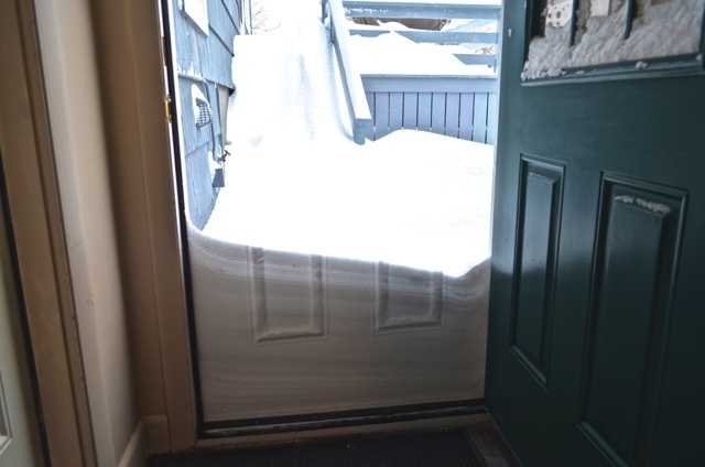 A door's impression in the snow in Newton on January 27, 2015.