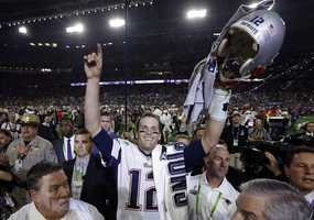 New England Patriots quarterback Tom Brady (12) celebrates after the NFL Super Bowl XLIX football game against the Seattle Seahawks Sunday, Feb. 1, 2015, in Glendale, Ariz. The Patriots won 28-24.