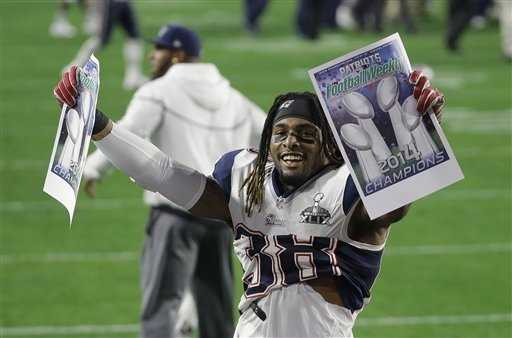 New England Patriots running back Brandon Bolden (38) celebrates after the Patriots beat the Seattle Seahawks in the NFL Super Bowl XLIX football game Sunday, Feb. 1, 2015, in Glendale, Ariz.