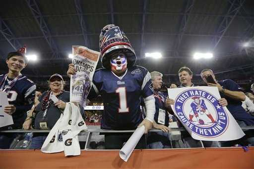 A New England Patriots fan celebrates