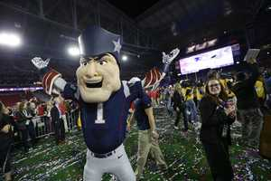 The New England Patriots mascot celebrates after the NFL Super Bowl XLIX football game against the Seattle Seahawks Sunday, Feb. 1, 2015, in Glendale, Ariz. The Patriots won the game 28-24.