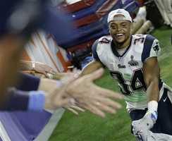 New England Patriots running back Shane Vereen (34) celebrates after the Patriots beat the Seattle Seahawks in the NFL Super Bowl XLIX football game Sunday, Feb. 1, 2015, in Glendale, Ariz.