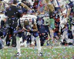 New England Patriots cornerback Brandon Browner (39) celebrates after the Patriots beat the Seattle Seahawks in the NFL Super Bowl XLIX football game Sunday, Feb. 1, 2015, in Glendale, Ariz.
