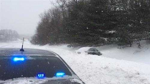 A car off the road on Route 2 eastbound in Fitchburg.