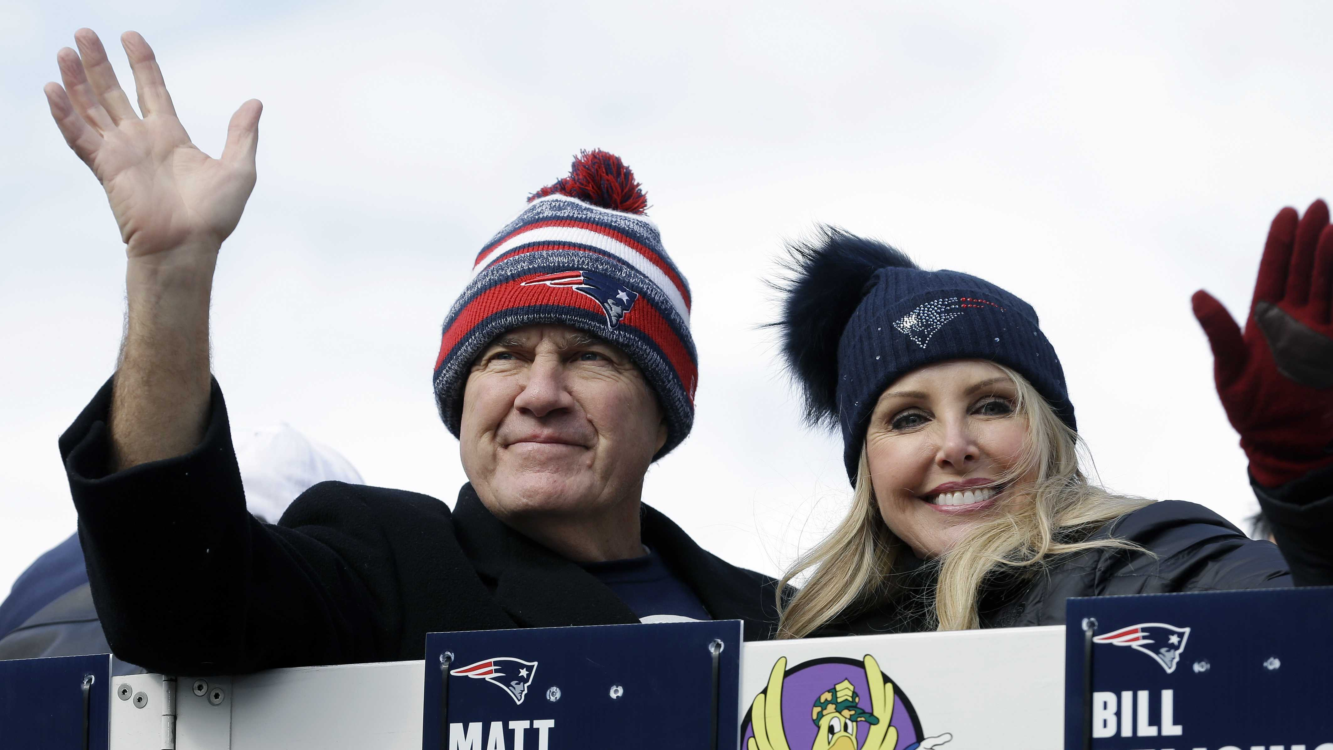 New England Patriots head coach Bill Belichick and his partner Linda Holliday