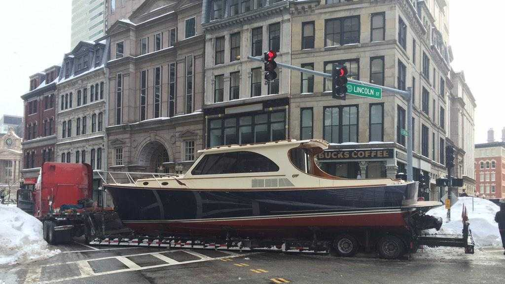 A truck towing a 36-foot yacht broke down in Boston.