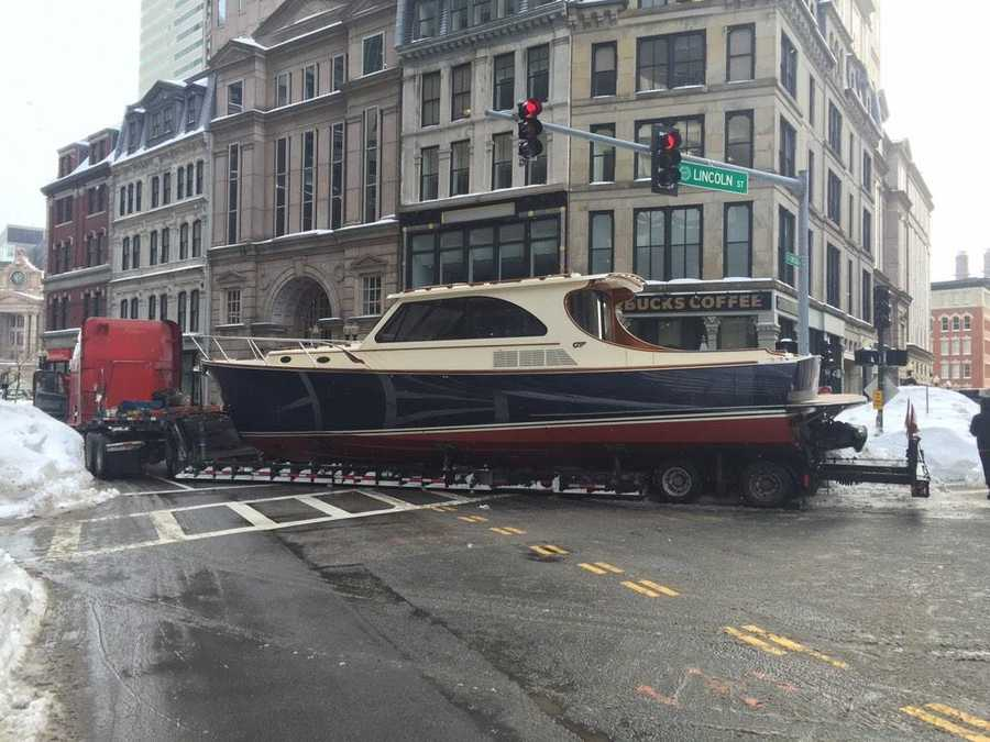 A truck towing a 36-foot yacht broke down in Boston.