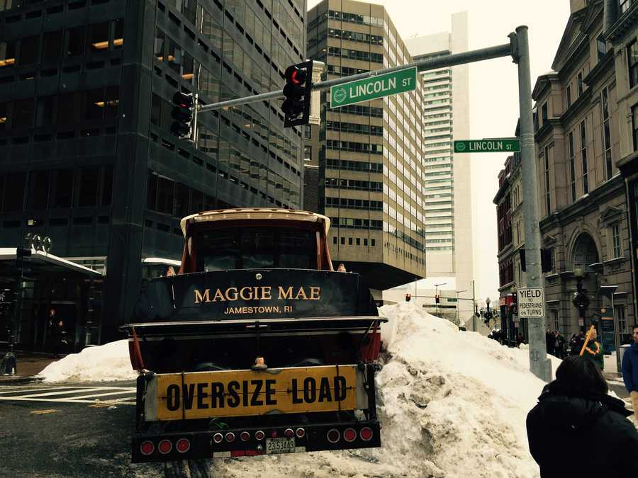 The boat, named Maggie Mae, was stuck at the intersection of Summer and Lincoln streets.