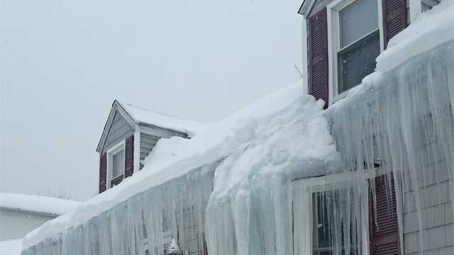 Icicles hang from a Norwood home.