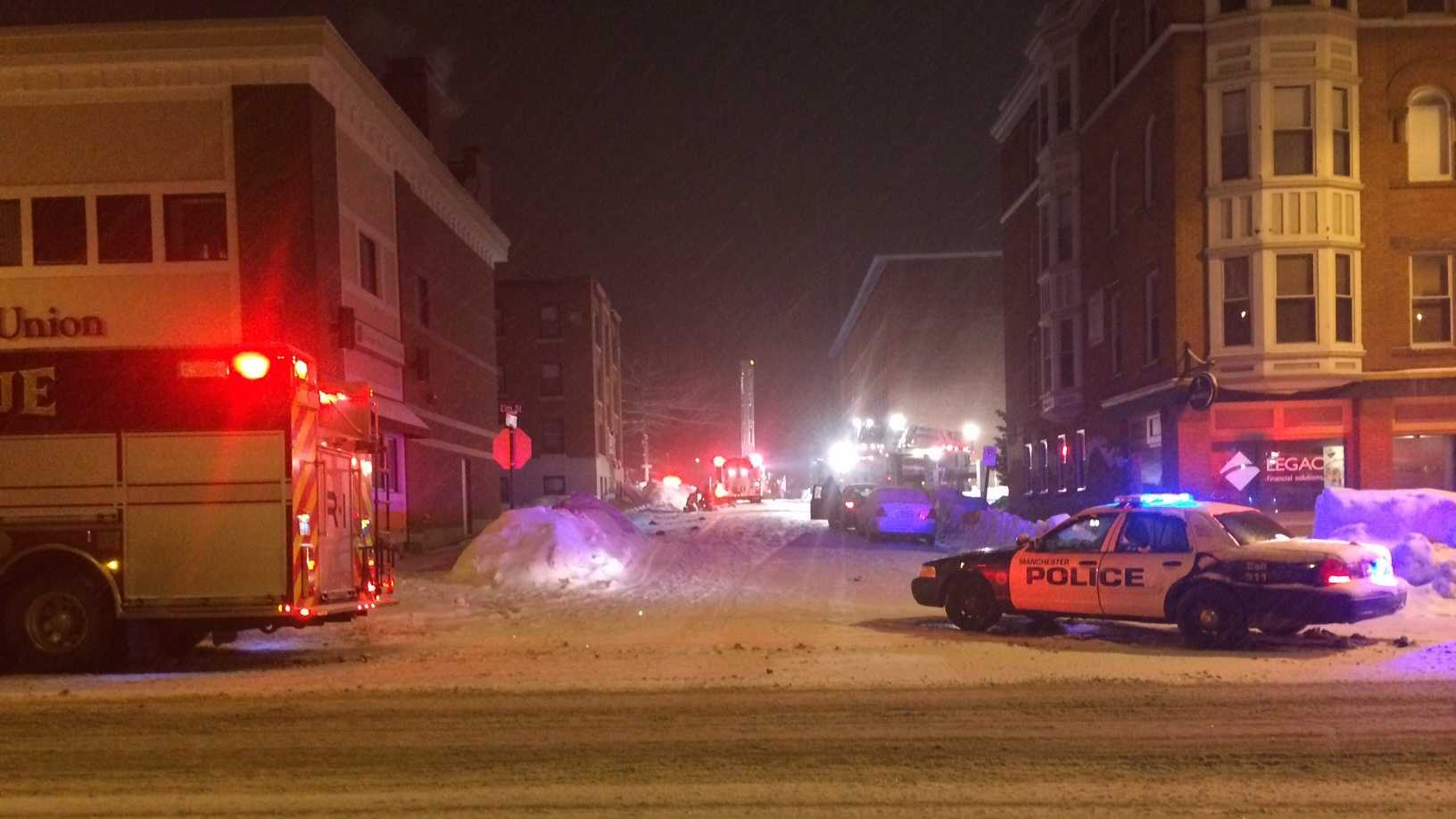 One man is displaced Saturday night following an apartment fire on Prospect Street in Manchester, New Hampshire.