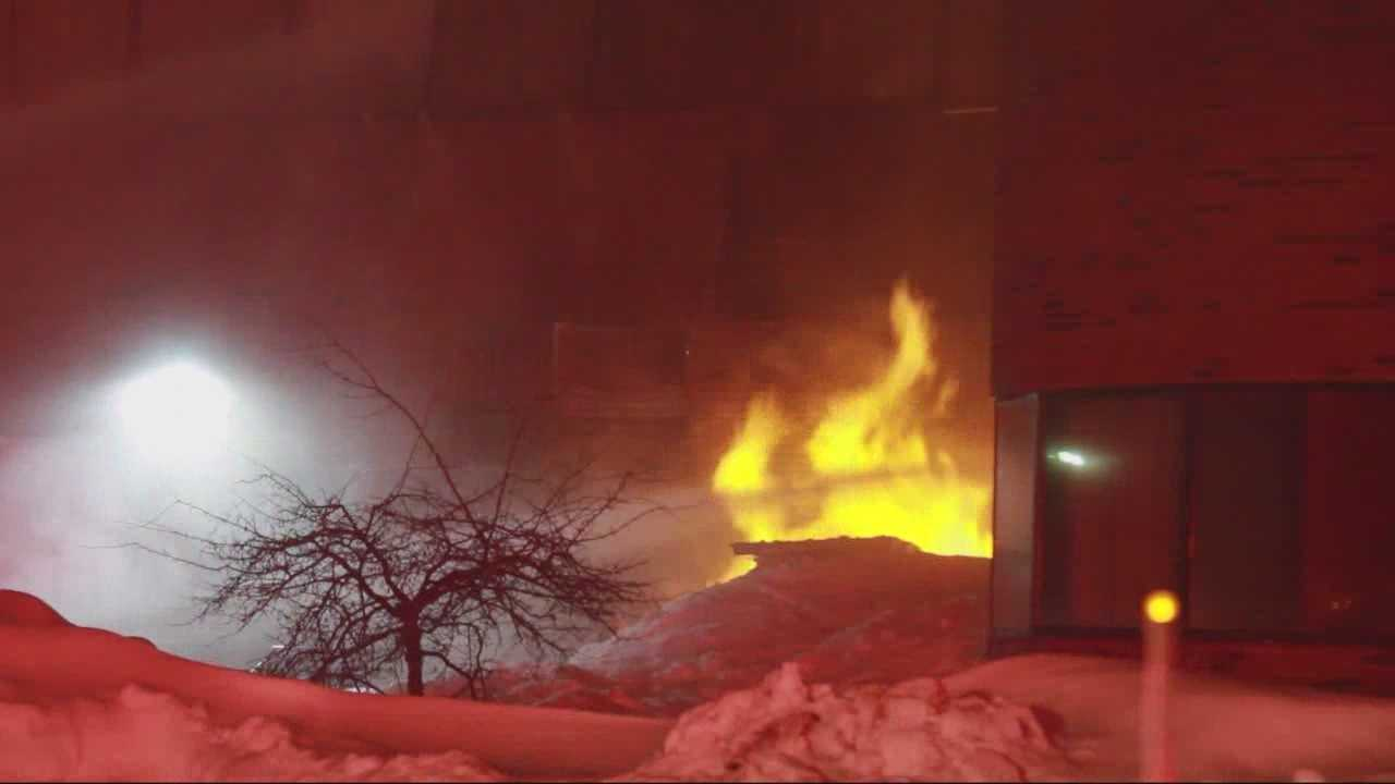 No injuries were reported after a falling icicle led to a gas explosion in Canton.