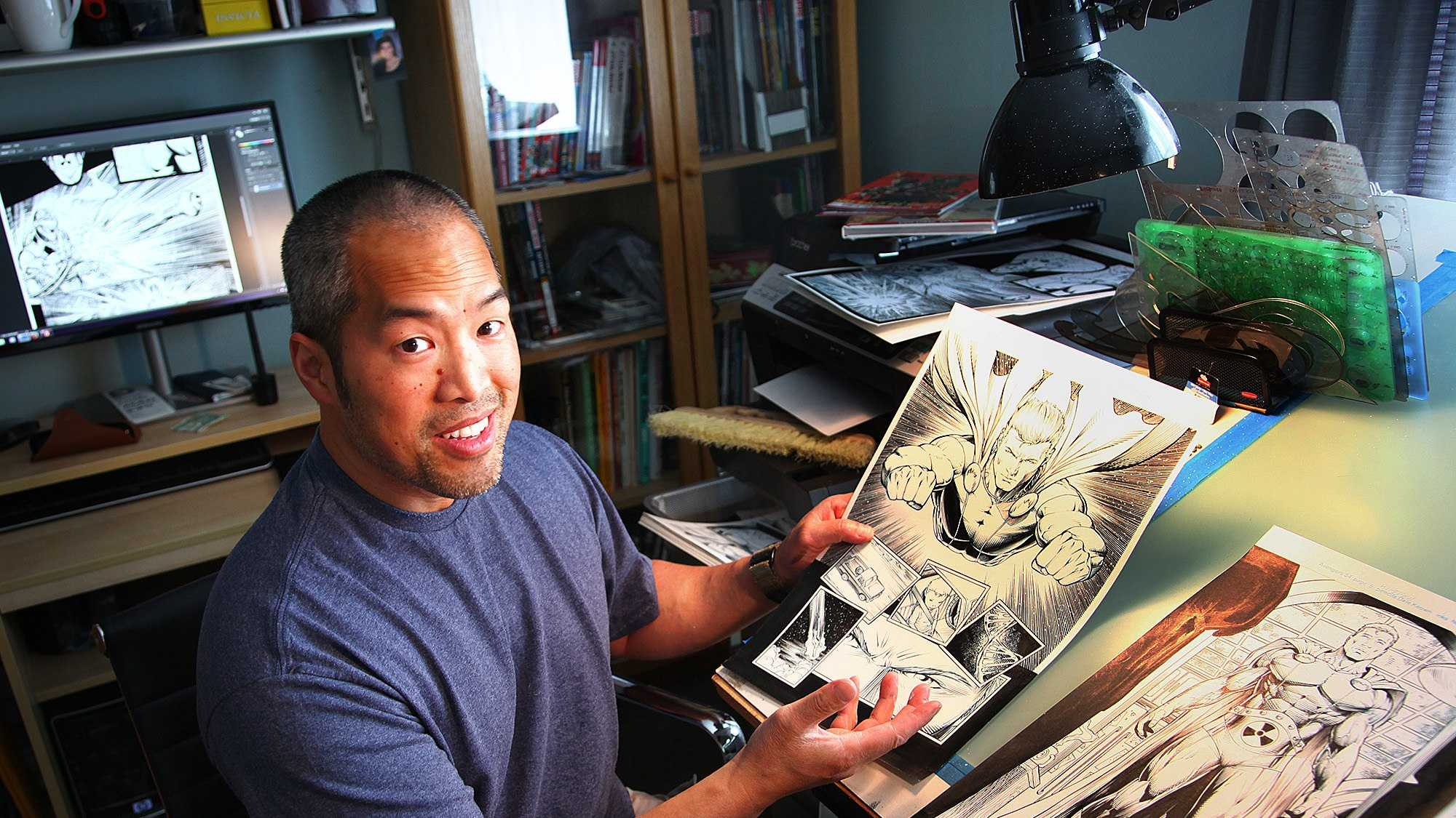 Norman Lee, a Weymouth comic book artist, in 2014.