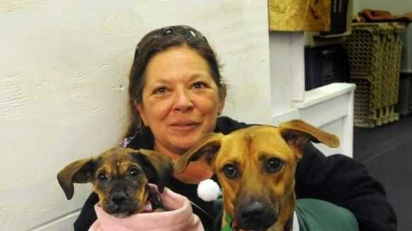 Sheryl Kozens-Long with Frida, left, and Sox, two of four dogs she brought back from Cozumel, Mexico for adoption.