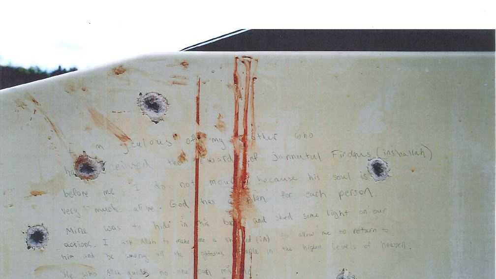 Jurors in the trial of Boston Marathon bomber Dzhokhar Tsarnaev  have been shown photographs of a handwritten note inside the boat he was captured in days after the bombings.