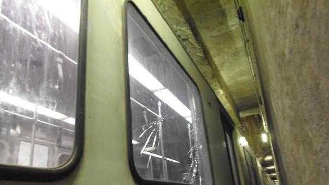Transit Police say this is one of the Red Line train windows that Braintree High students damaged Monday.