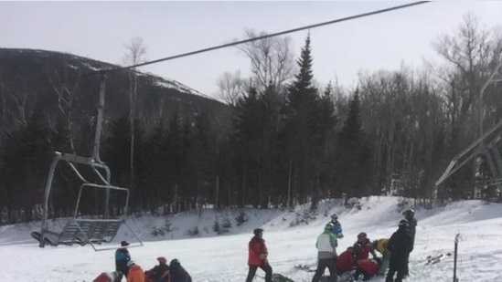 Seven people were injured when a chairlift at SugarLoaf Mountain experienced a rollback malfunction on Saturday.