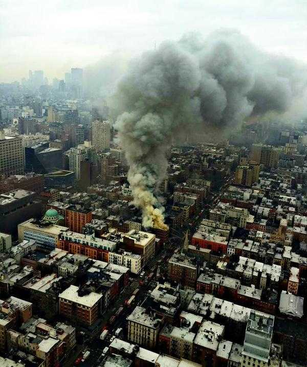 This photo from the NYPD Special Operations team shows the smoke and flames from the fire.