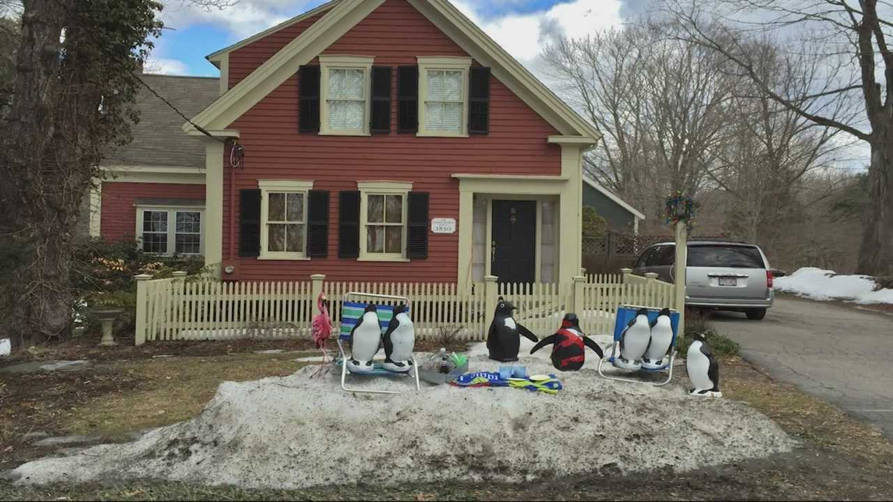 To those driving by the Russell home in Sherborn the plastic penguins on the front lawn may look like goofy decorations, but to the Russell family they are so much more.