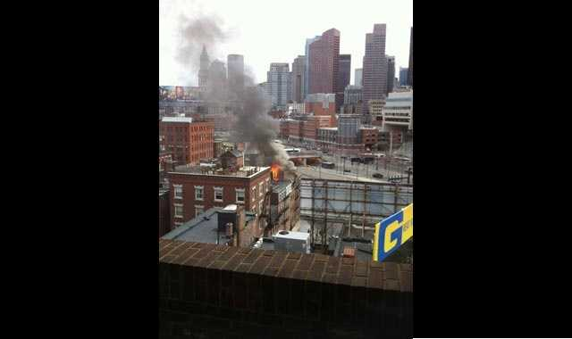 Black smoke could be seen billowing from 3 Stillman Place, Boston Fire said.